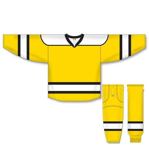 Athletic Knit Custom Maize/White/Black 7500 Jersey - Discount Hockey
