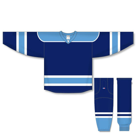 Athletic Knit Custom Navy/Sky Blue/White 7500 Jersey - Discount Hockey