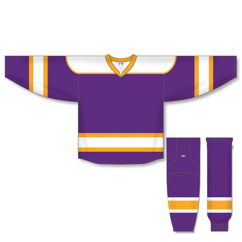 Athletic Knit Custom Purple/White/Gold 7500 Jersey - Discount Hockey