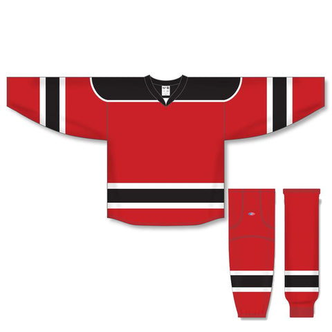 Athletic Knit Custom Red/Black/White 7500 Jersey - Discount Hockey
