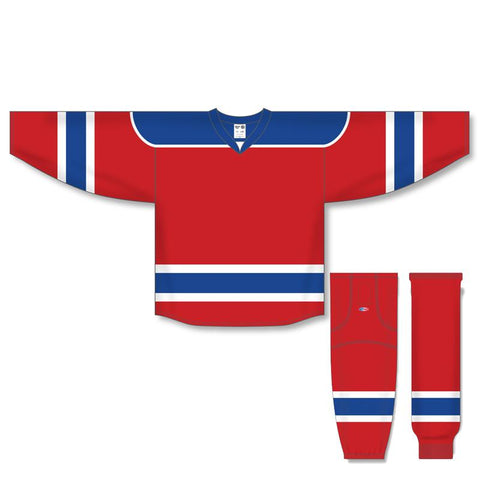 Athletic Knit Custom Red/Royal/White 7500 Jersey - Discount Hockey