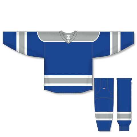 Athletic Knit Custom Royal/Grey/White 7500 Jersey - Discount Hockey