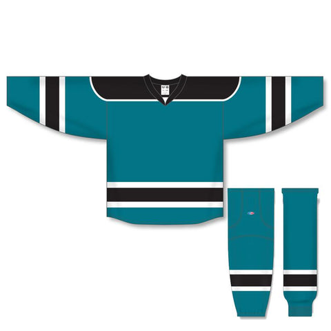 Athletic Knit Custom Teal/Black/White 7500 Jersey - Discount Hockey