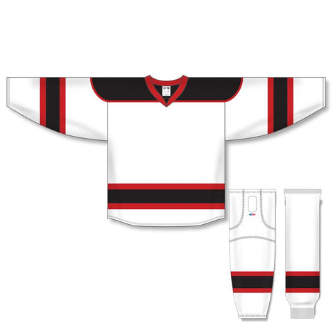 Athletic Knit Custom White/Black/Red 7500 Jersey - Discount Hockey