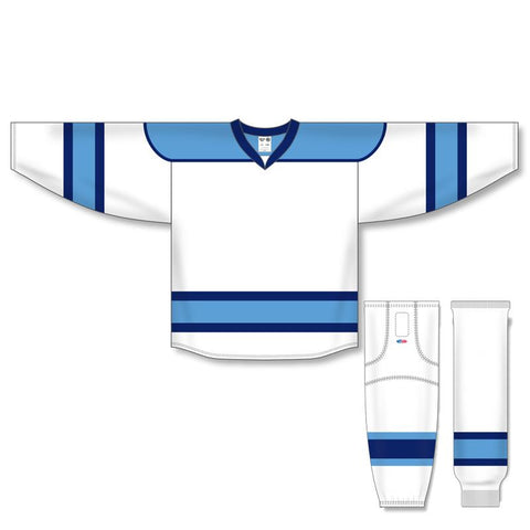 Athletic Knit Custom White/Sky Blue/Navy 7500 Jersey - Discount Hockey