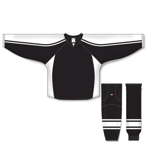 Athletic Knit Custom Black/White 7600 Jersey - Discount Hockey