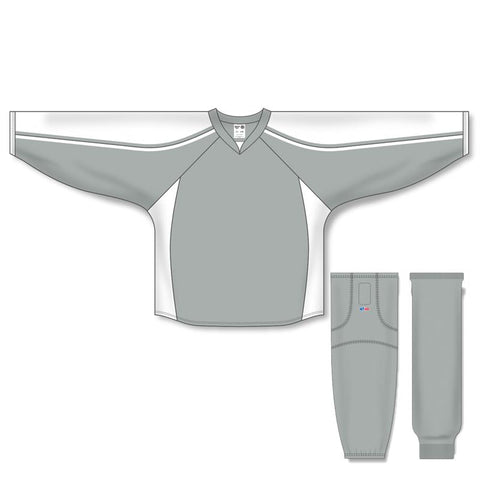Athletic Knit Custom Grey/White 7600 Jersey - Discount Hockey