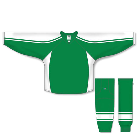 Athletic Knit Custom Kelly Green/White 7600 Jersey - Discount Hockey
