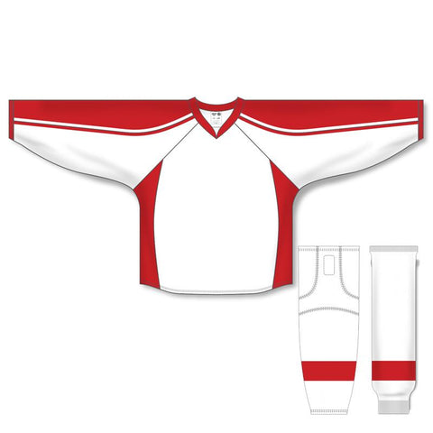 Athletic Knit Custom White/Red 7600 Jersey - Discount Hockey