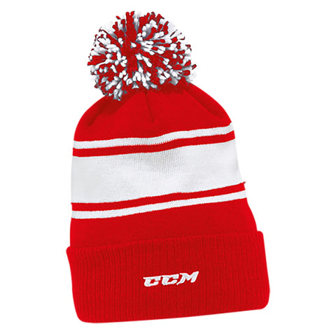 CCM C6990 Team Fleece Stripe Youth Pom Knit Beanie