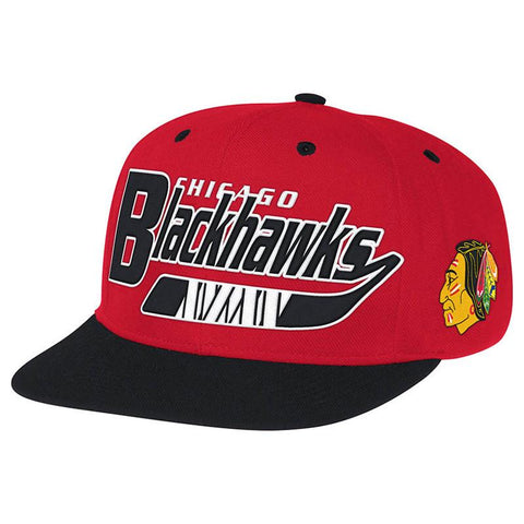 CCM Chicago Blackhawks Hockey Stick Snapback Hat - Discount Hockey