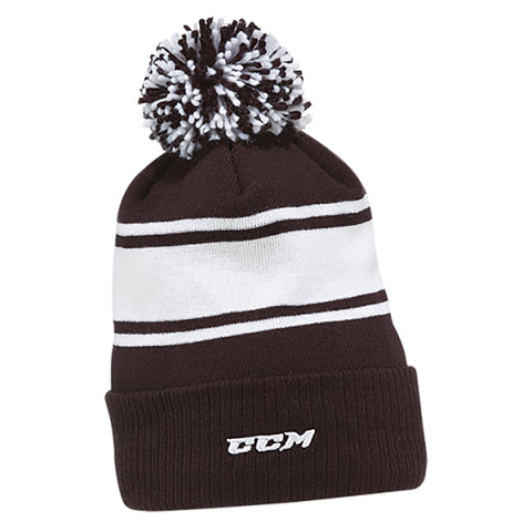 CCM C6990 Team Fleece Stripe Adult Pom Knit Beanie