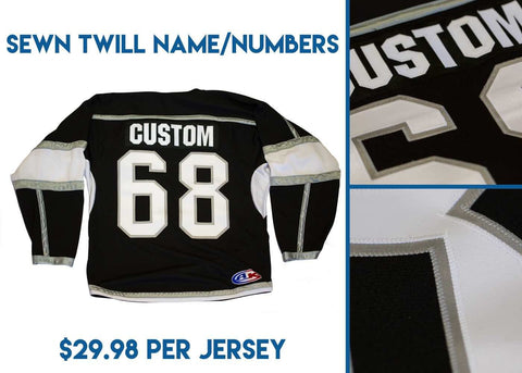 Athletic Knit Custom White/Black 7600 Jersey - Discount Hockey
