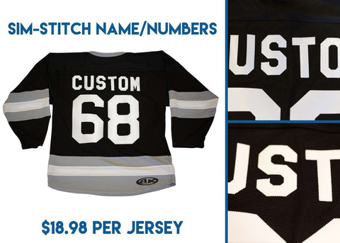 Athletic Knit Custom Pro Blue/Navy/White 7400 Jersey - Discount Hockey