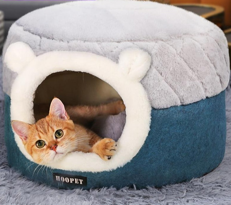 Blue Plush Kitty House and Bed