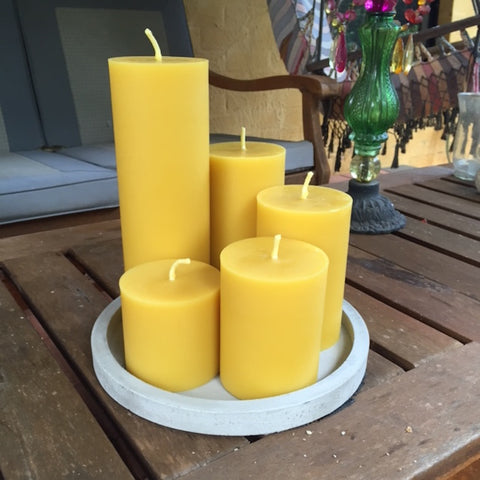 Set fo five solid beeswax candles from Happy Flame