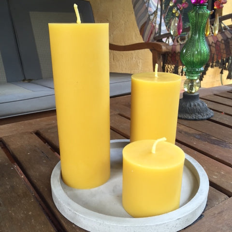 Set of solid beeswax pillar candles