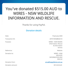 Donation to WIRES for bushfires