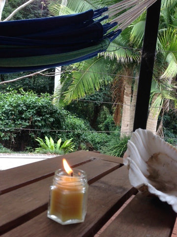 citronella beeswax candles in the outdoors