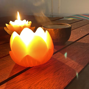 Beeswax Lotus candle Beeswax Lanterns luminaries Happy Flame