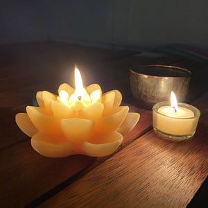Double lotus beeswax candle Spiritual Happy Flame