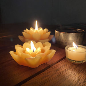 Floating Lotus Flower beeswax candle Decorative Happy Flame