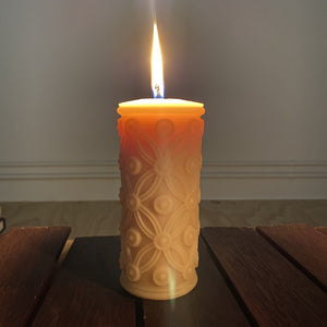Flower of life beeswax candle made form certified organic beeswax. Happy Flame