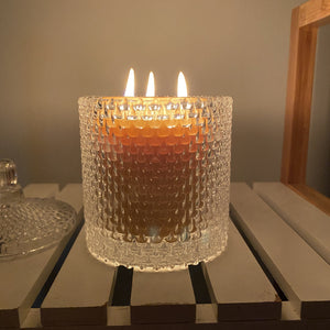 "Triple wick candle in glass- certified organic beeswax certified organic Happy Flame Triple wick with ""sparkle"" glass holder"