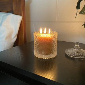 Triple wick candle in glass- certified organic beeswax certified organic Happy Flame