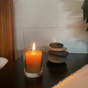 12 hour votive made from certified organic beeswax Beeswax Votives Happy Flame