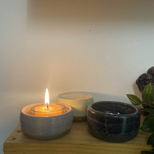 Ceramic tea light holders- collaboration Happy Flame