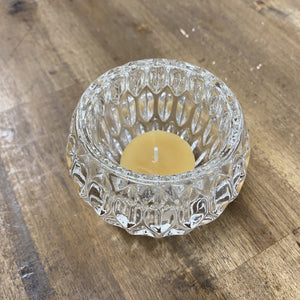 Cut glass style tea light holder glass holder Happy Flame