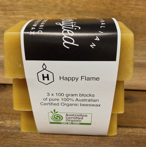 Happy Flame beeswax Australian Certified Organic Beeswax blocks