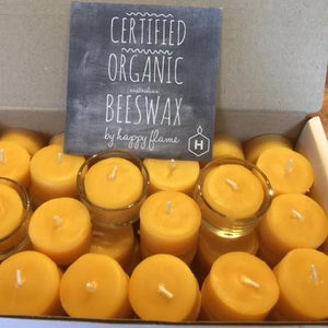 Happy Flame Beeswax Tea lights 4 hour tea light candles made of Australian Certified Organic beeswax
