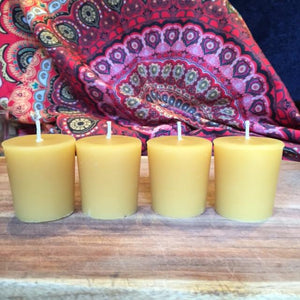 Happy Flame Beeswax Votives 12 hour votive made from certified organic beeswax