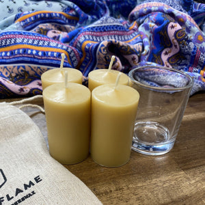 Happy Flame Beeswax Votives NEW! 12 hour votive made from certified organic beeswax