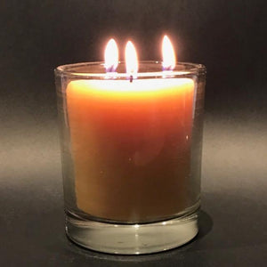 Happy Flame certified organic Triple wick candle in glass- certified organic beeswax