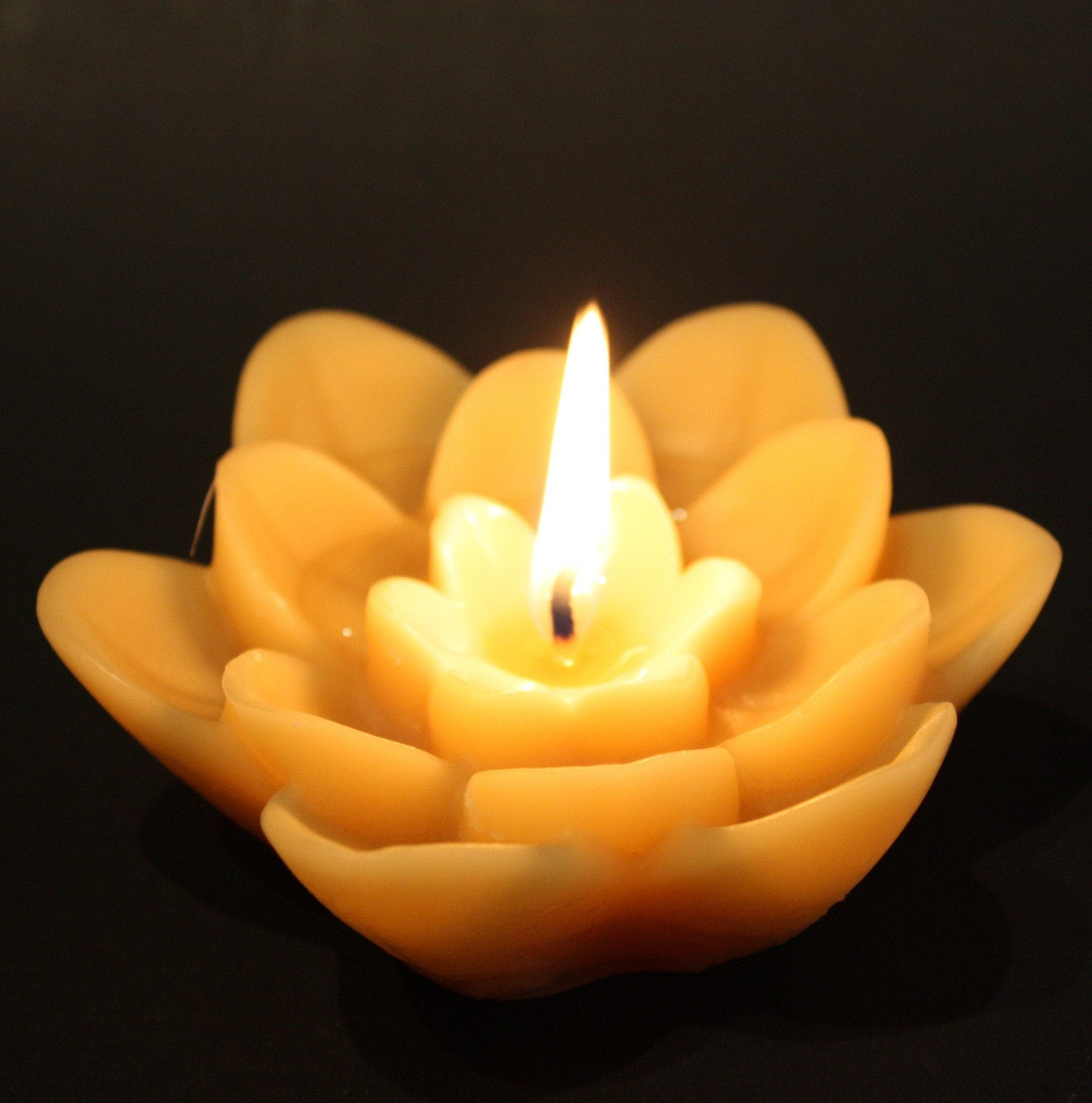 Floating Lotus Flower Beeswax Candle Happy Flame