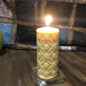 Happy Flame Flower of life beeswax candle