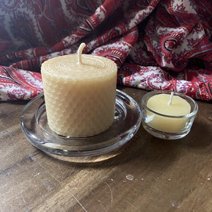 "Happy Flame Honeycomb beeswax candles 3 x Natural ""Cosy"" candles: ""Cosy"" honeycomb candle set (3 x candles) made from Certified organic beeswax"