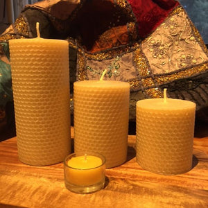 "Happy Flame Honeycomb beeswax candles Set of three honeycomb Spirits $109.50 Save $9 Honeycomb ""Spirit"" candles made from Australian Certified Organic Beeswax"
