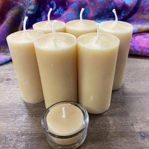 "Happy Flame Long burning Solid candle 6 x small Byron lights: $117 save $12.00 ""Byron Light"" candle-made from Australian Certified Organic beeswax"