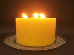 Happy Flame Long burning Solid candle Triple Wick Solid Beeswax Candle
