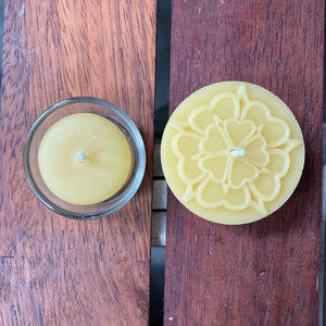 Happy Flame Set of 3 x Embossed Meditation candles