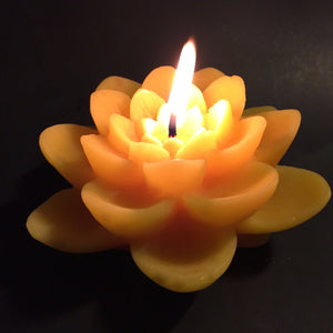 Happy Flame Spiritual Double lotus beeswax candle