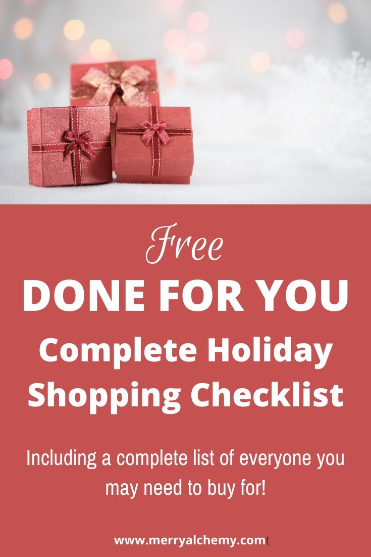 done for you holiday shopping checklist
