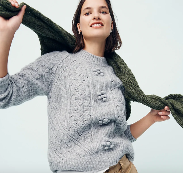 cable knit pointelle sweater with popcorn flowers by j.crew