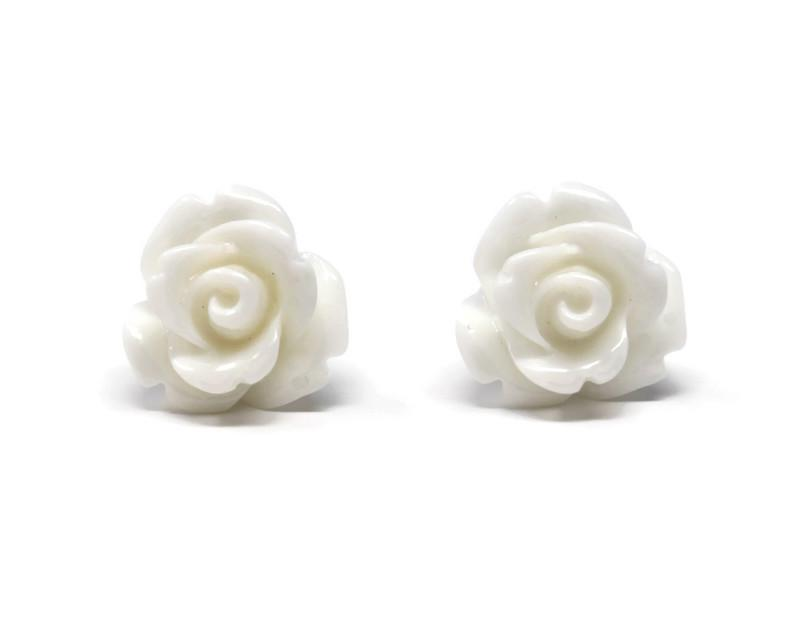 glossy white resin flower earrings