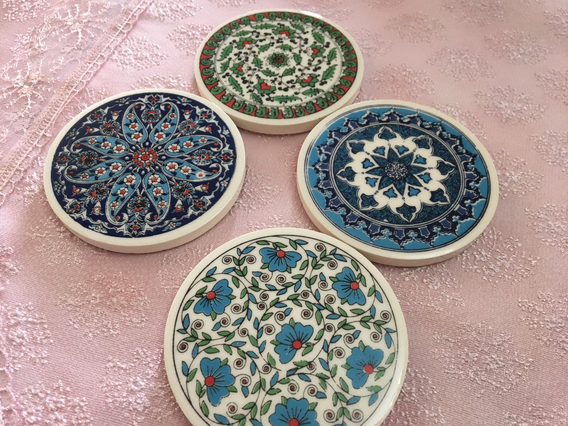 traditional Turkish tile coasters