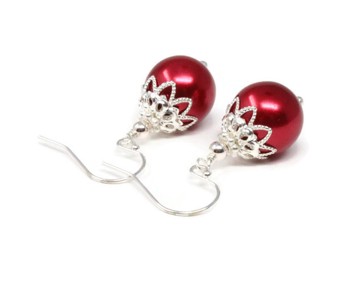Red Christmas Ball Earrings ~ 12mm